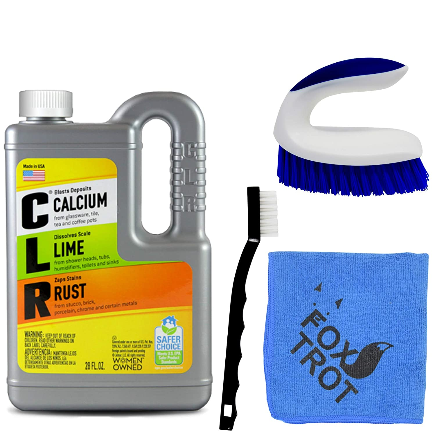 CLR Complete Cleaning Kit, Calcium Lime and Rust Removal System Includes 28oz CLR Bottle, 1 Handheld Heavy Duty Brush, 1 EZ Grip Thin Tip Vinyl Brush, 1 Professional Grade Foxtrot TM Microfiber Towel Foxtrot Living