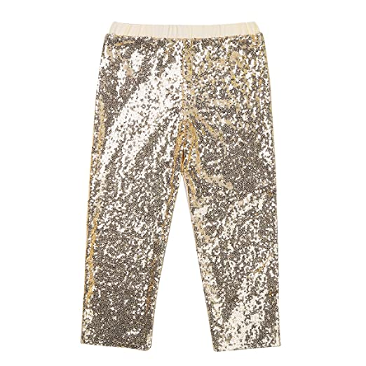 b010bb454702d iiniim Kids Girls Sequins Leggings Pants Baby Children Boys Shiny Birthday  Party Fancy Dance Clothes Gold