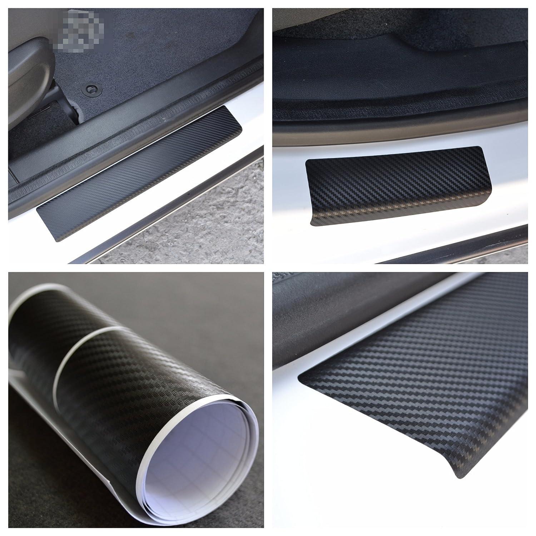 ドア敷居ビニールラップScuff保護フィルムフィットFiat 500l 2013-ブラックカーボンファイバーテクスチャDecalsエントリガード4個キットペイントプロテクター B077MBW4M2