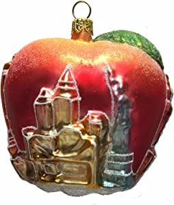Pinnacle Peak Trading Company New York City Apple with Landmark Buildings Polish Glass Christmas Ornament NYC