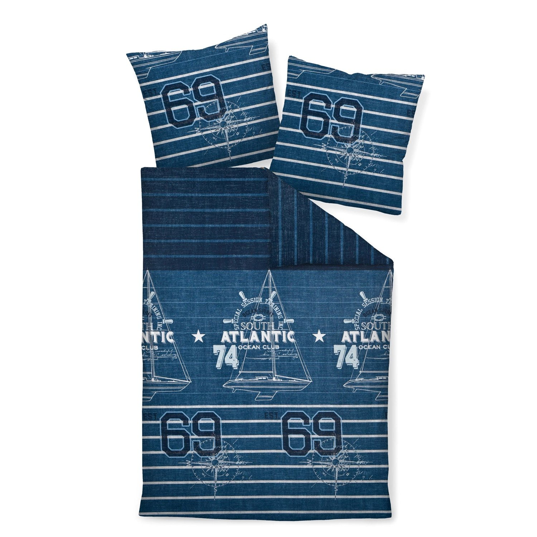 Janine Design Mako-Satin Bettwäsche J.D. 87027-02 blau 240x220 cm + 2X 80x80 cm