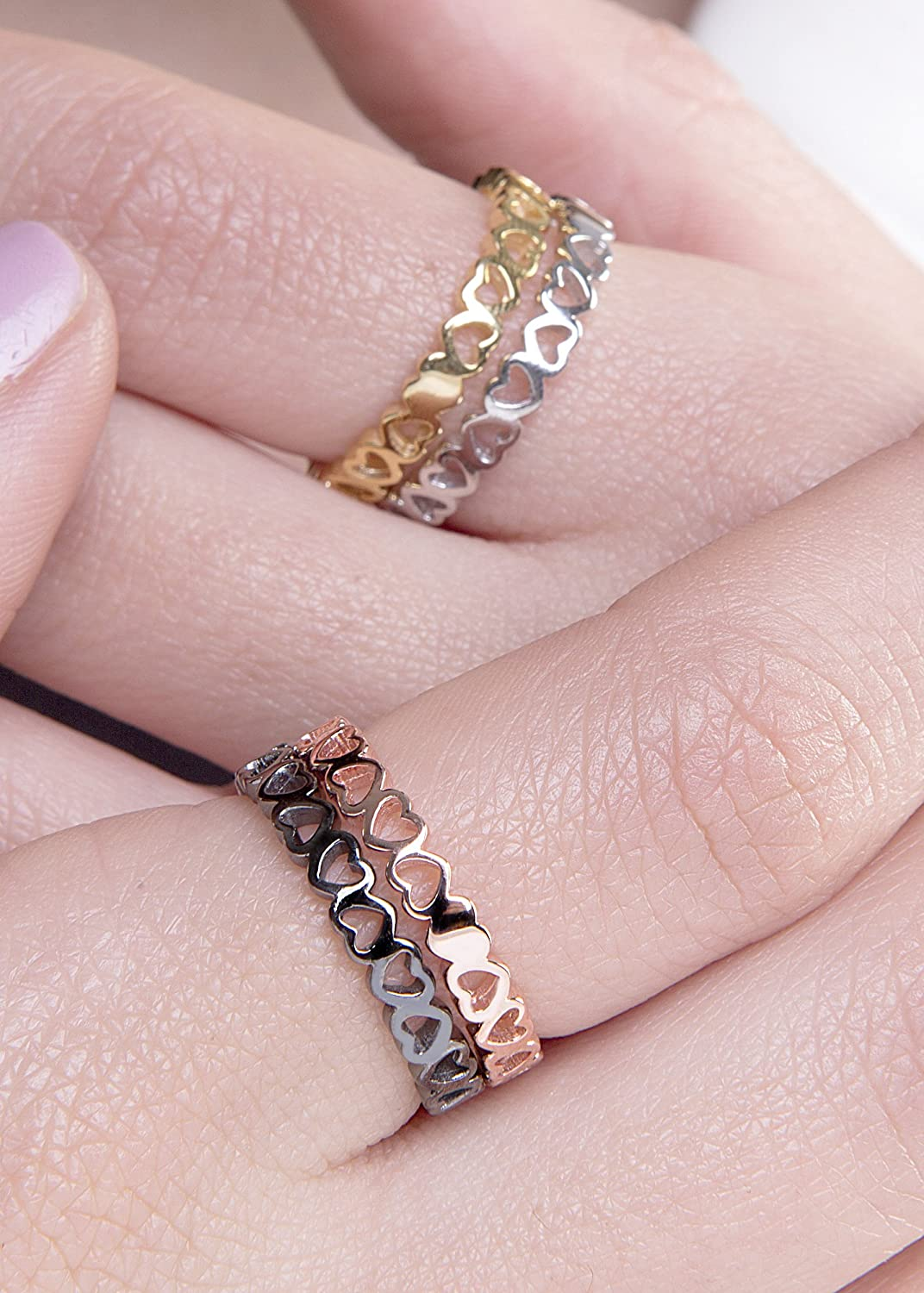 Amazon.com: Gold heart ring, All around heart ring, Rose gold heart ...