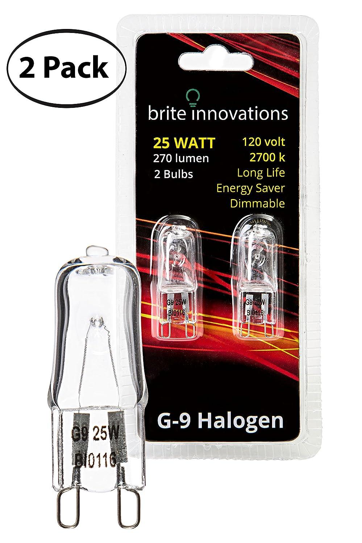 Brite Innovations G9 Halogen Bulb, 25 Watt – 2 Pack – Energy Saving - Dimmable - Soft White 2700K - 120V - Q40, CL, T4 JD Type, Clear Light Bulb