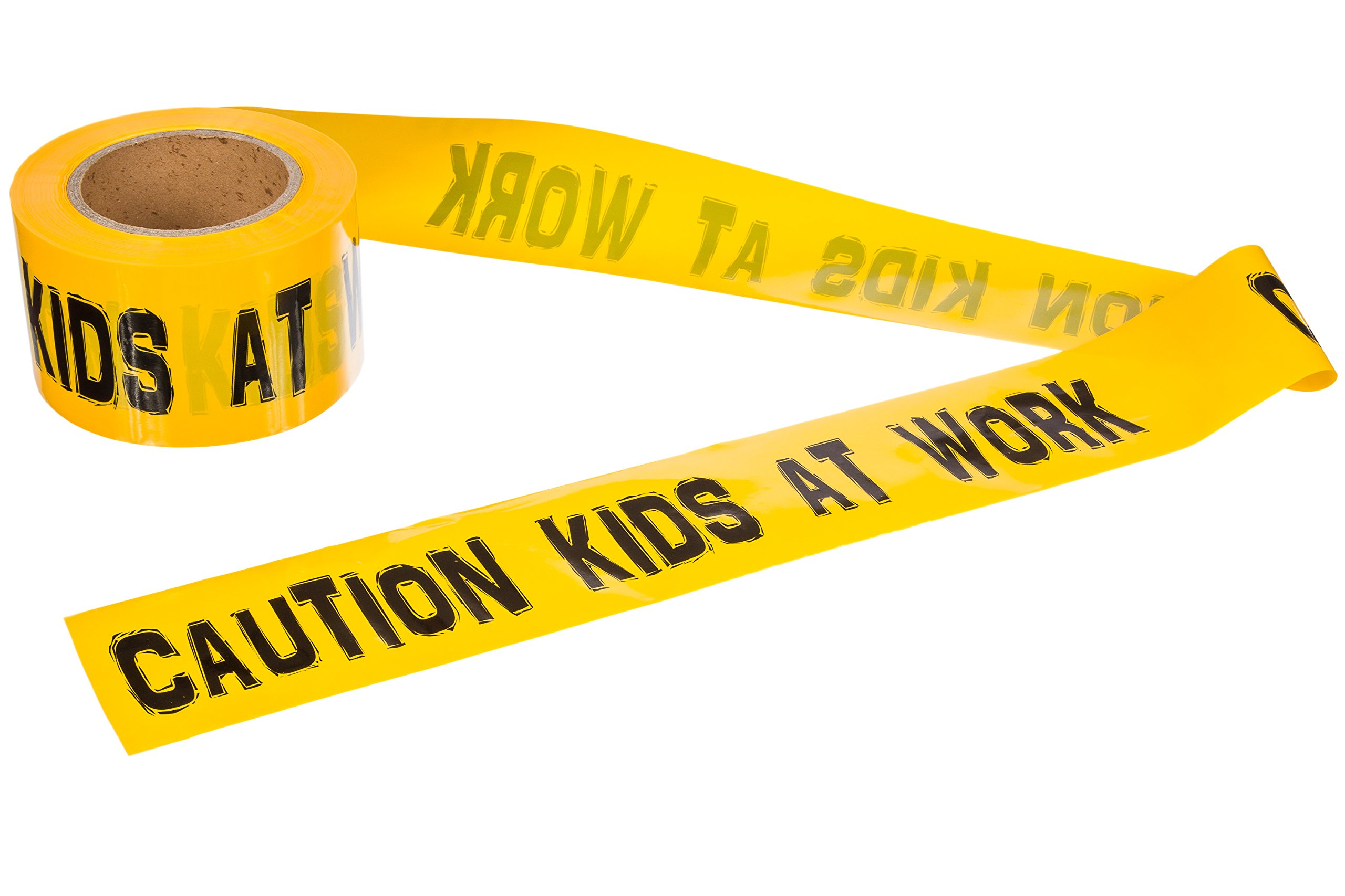 Caution Kids at Work! - 300' Roll of Caution Tape - Black and Yellow - Barricade Tape for Kids or Adults - by TorxGear Kids