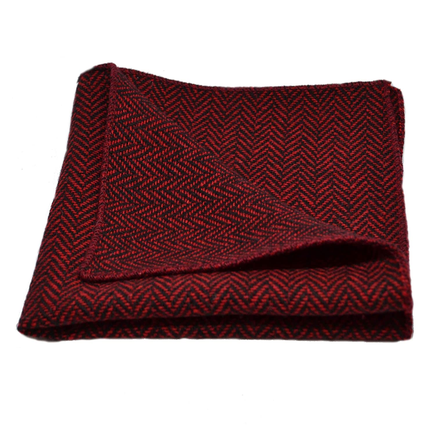 Cranberry Red & Black Herringbone Pocket Square, Handkerchief King & Priory