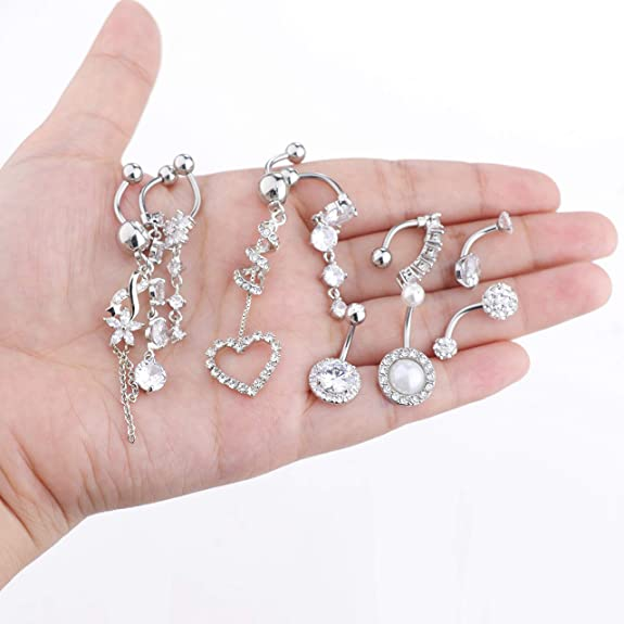 Fancy Lighting with Star 925 Sterling Silver with Stainless Steel Belly Button Navel Rings