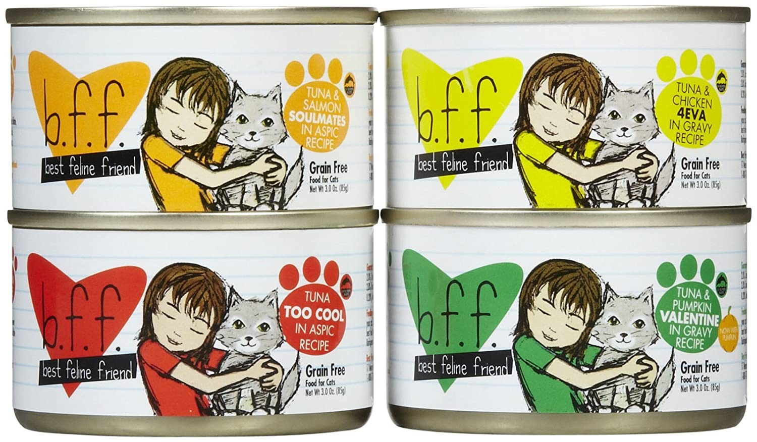 Weruva Best Feline Friend Grain Free Variety Pack Cat Canned Food Flavor 3z 12ct