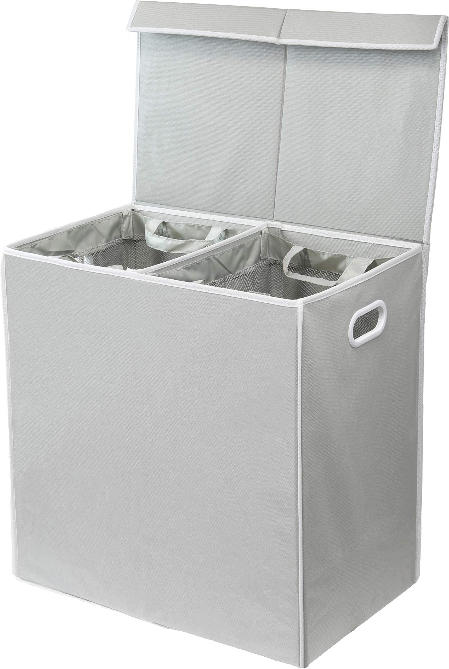 Simplehouseware Double Laundry Hamper with Lid and Removable Laundry Bags, Grey by Simple Houseware