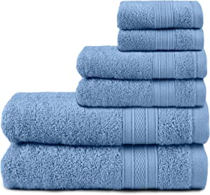 TRIDENT Soft and Plush, 100% Cotton, Highly Absorbent, Bathroom Towels, Super Soft, 6 Piece Towel Set (2 Bath Towels, 2 Hand Towels, 2 Washcloths), 500 GSM, Allure