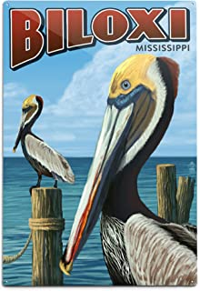 product image for Lantern Press Biloxi, Mississippi, Brown Pelican (12x18 Aluminum Wall Sign, Wall Decor Ready to Hang)