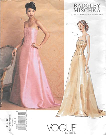 Amazon.com: Vogue 2732 Formal Evening Dress Sewing Pattern Badgley ...