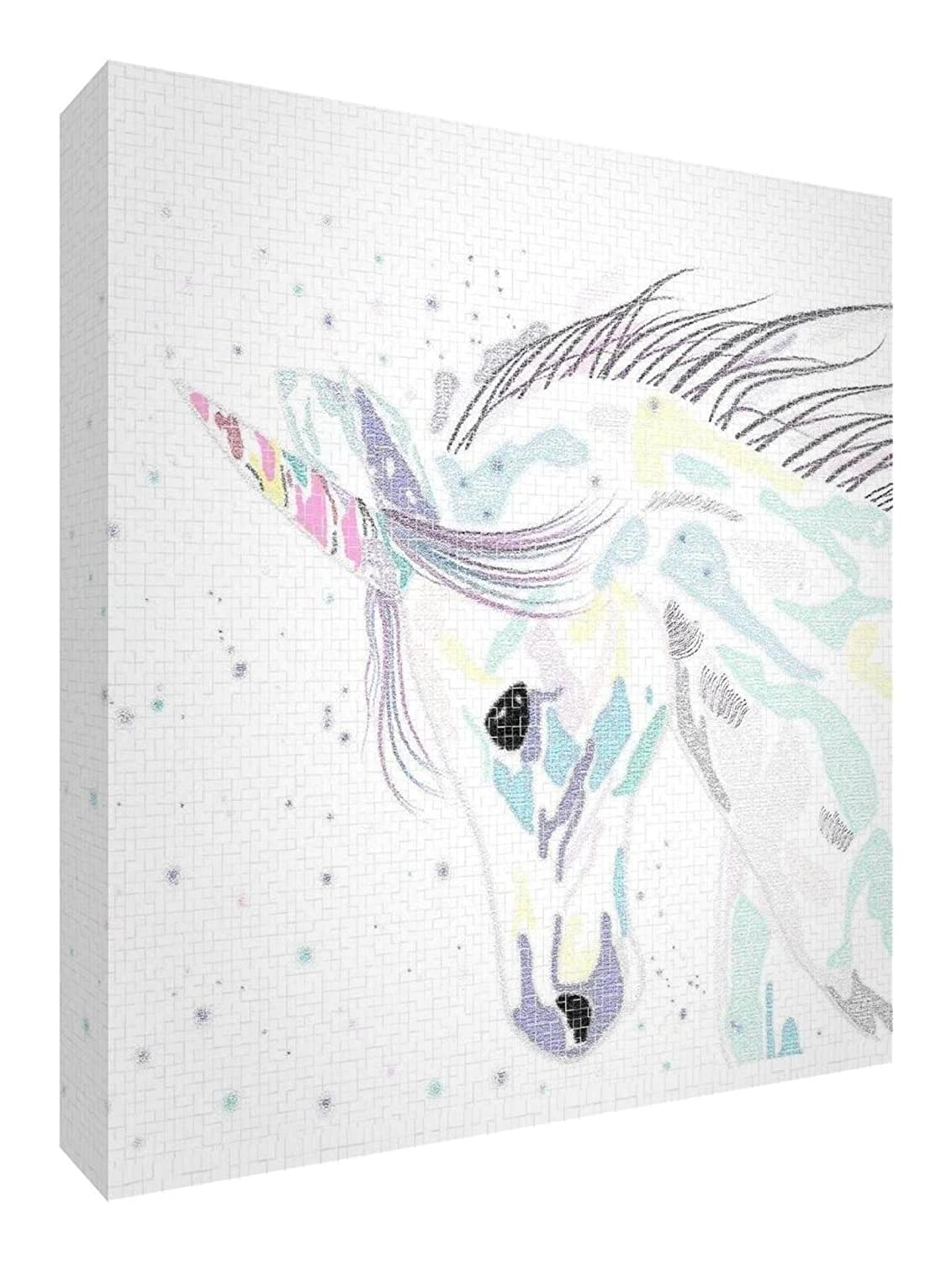 Feel Good Art Unicorn Design Stylish/Modern/Solid Fronted Wall Canvas, Medium, 38 x 38 x 3 cm, Multi-coloured Palette Little Helper Ltd BC-STYLISEDUNICORN-1515-15