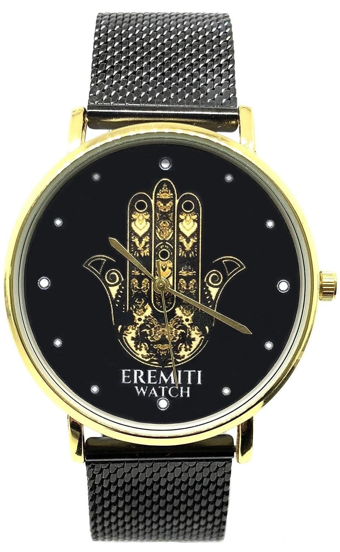 EREMITI JEWELS Sunset Negro Black Dorado Gold Hombre Mujer Unisex Relojes de Pareja Reloj Correa Camiseta Milano Black Negro Oro Gold Mano de Fátima Amuleto ...