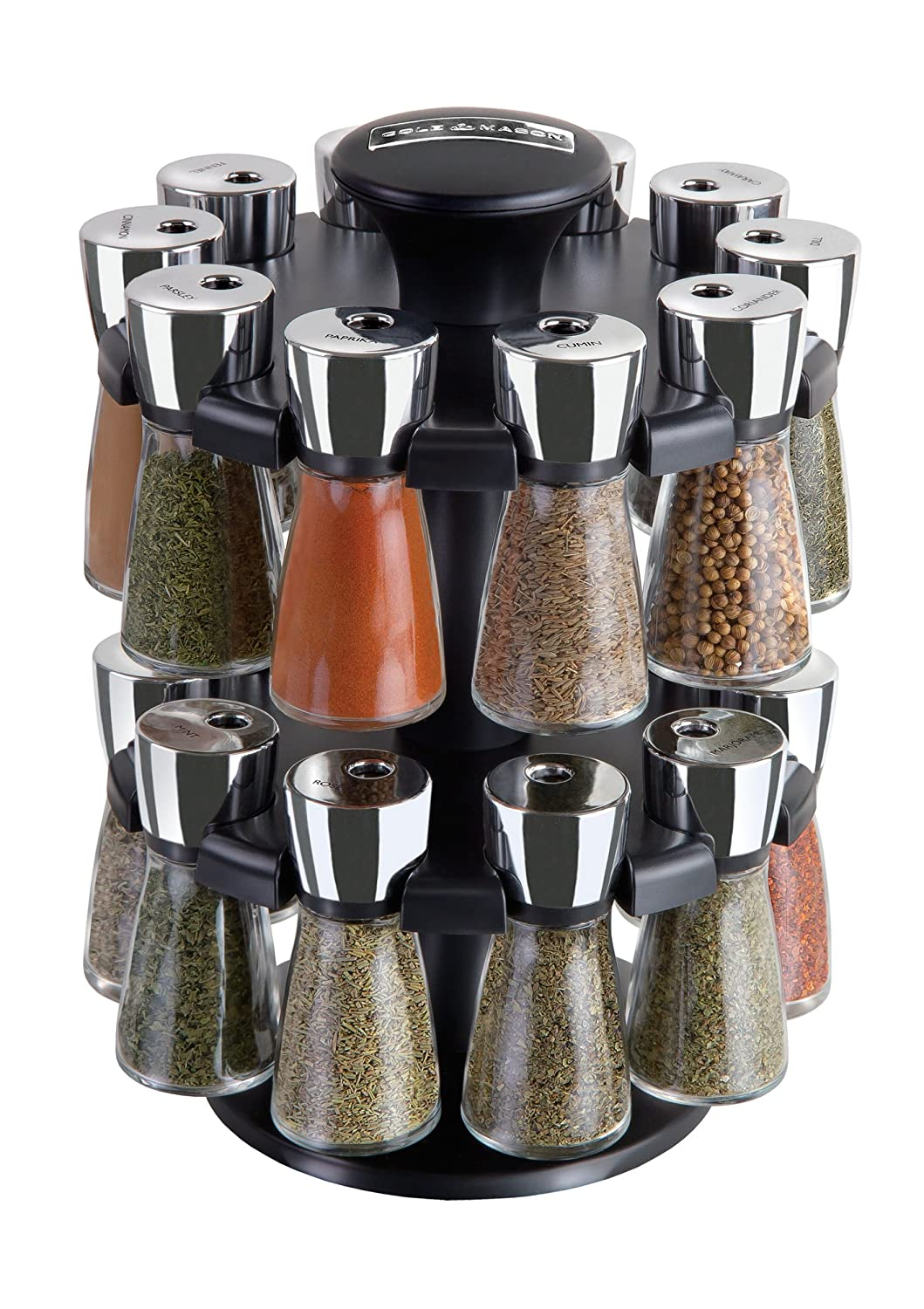 Amazon.com: Cole U0026 Mason Herb And Spice Rack With Spices   Revolving  Countertop Carousel Set Includes 20 Filled Glass Jar Bottles: Kitchen U0026  Dining