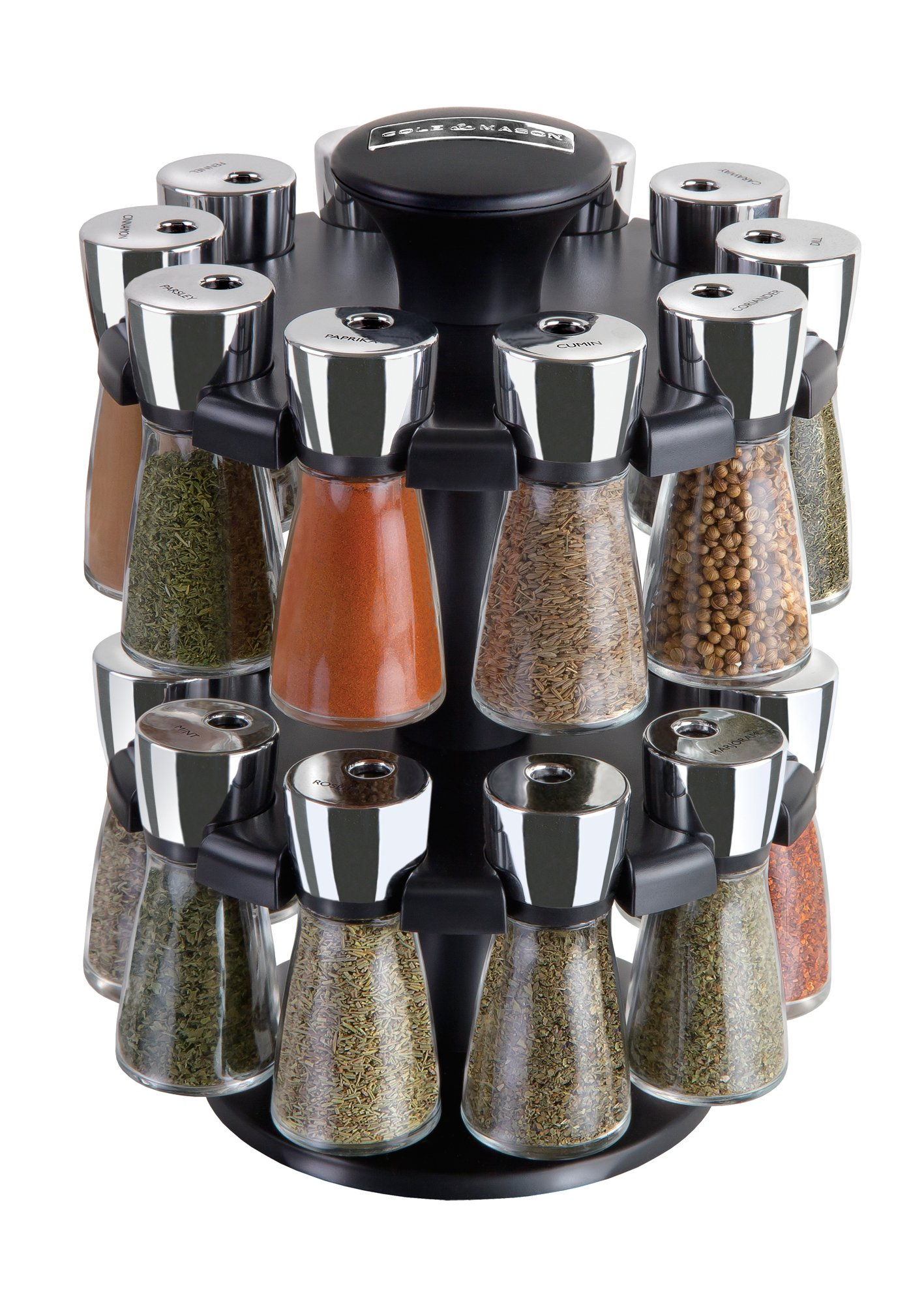 Cole & Mason Herb and Spice Rack with Spices - Revolving Countertop Carousel Set Includes 20 Filled Glass Jar Bottles by Cole & Mason