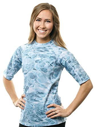 5936f3f9dc1ad Aqua Design Women UPF 50+ Short Sleeve Loose Fit Rash Guard Swim Surf Shirt  Aqua