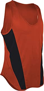 product image for TR-522-CB Men's Performance Sprint Single Ply Lightweight Singlet with Panels (Large, Orange/Black)