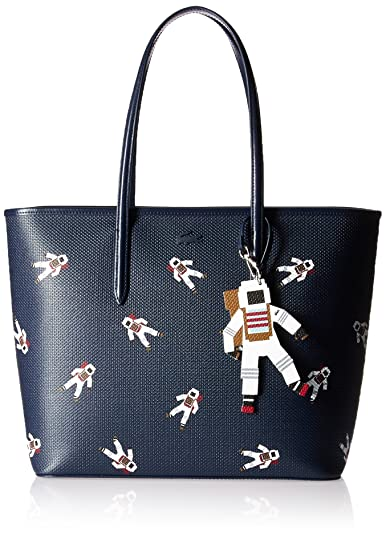 2b7dc779b97 Lacoste womens NF2258CQ Chantaco Fantasy Zip Shopping Bag With Charm blue  Size: One Size