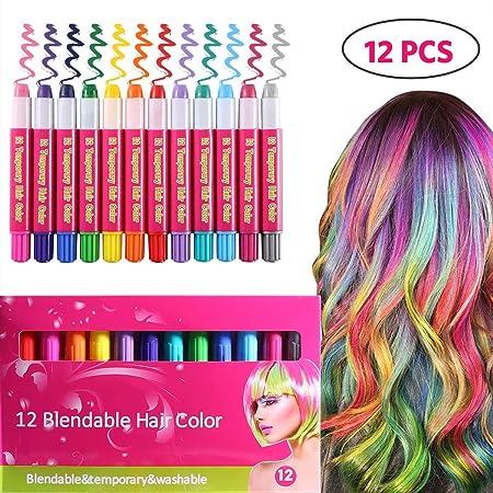 ROTEK Haarkreide, 12 Farbe Haare Kreide Auswaschbar, Temporäre Haarfarbe Geschenkideen Weihnachten für Kinder Mädchen, Ungift