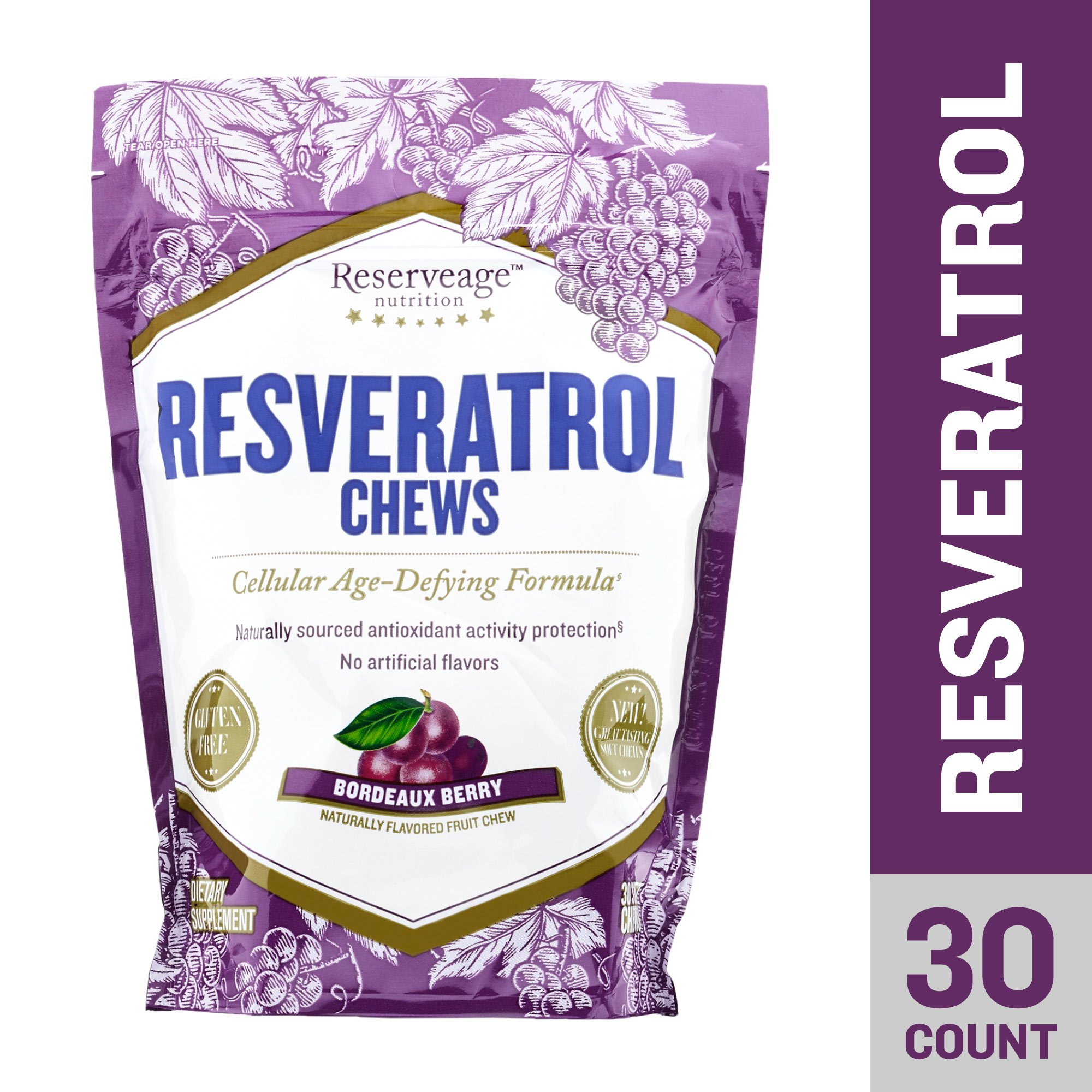 Reserveage, Resveratrol Chews, Anti Wrinkle Support to Protect Against the Aging Effects of Free Radicals for Youthful, Smooth Skin with Organic Red Grape and Acai, Bordeaux Berry, 30 Chews by Reserveage Nutrition