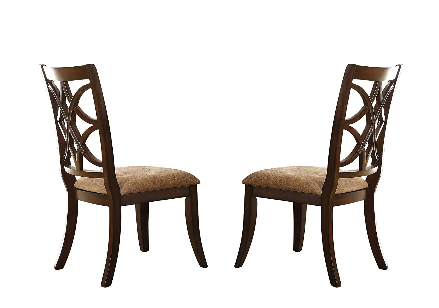 Homelegance Keegan Sophisticated Dining Chairs with Overlapping Design Backrest Set of 2 , Cherry
