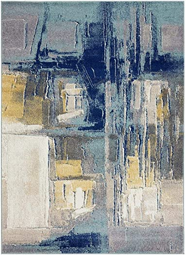 Luxe Weavers Abstract Blue 8×10 Area Rug