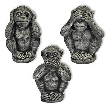 Amazon.de: 3 Affen Set massiv Nichts sehen hören sagen Glücksbringer ...