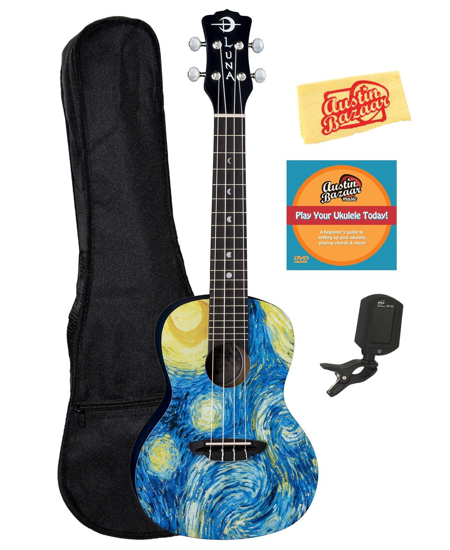 Luna Guitars Starry Night Concert Ukulele Bundle with Gig Bag, Tuner, Austin Bazaar Instructional DVD and Polishing Cloth by Luna Guitars