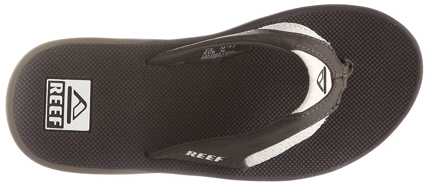 Reef Leather Fanning White/Brown, Chanclas para Hombre