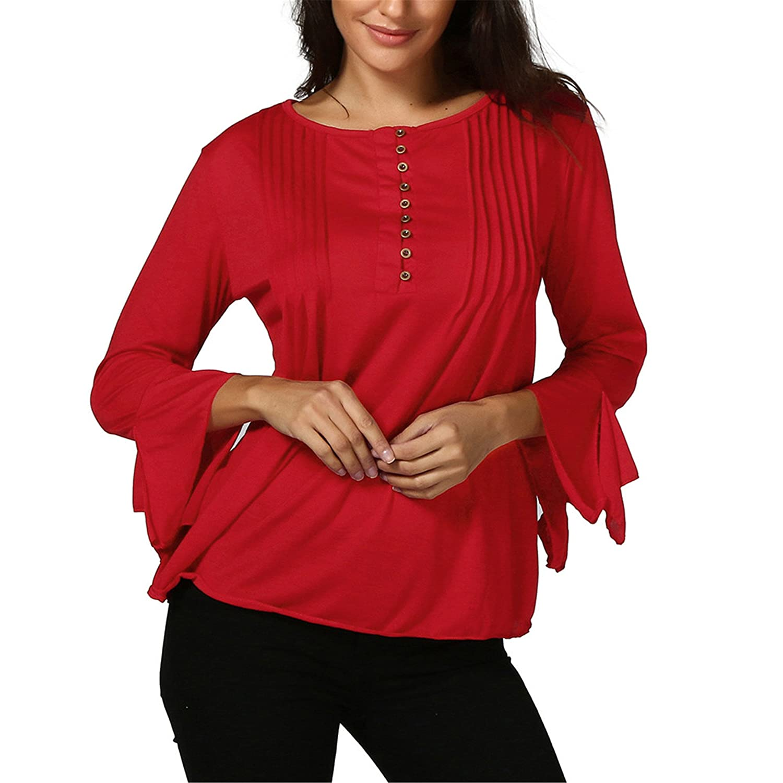 Bekleidung Loveso Tops Sommerkleider Herbst Kleidung Damen Mode Einfarbig V Ausschnitt Falten 3/4 Ä rmel Top Bluse Shirt