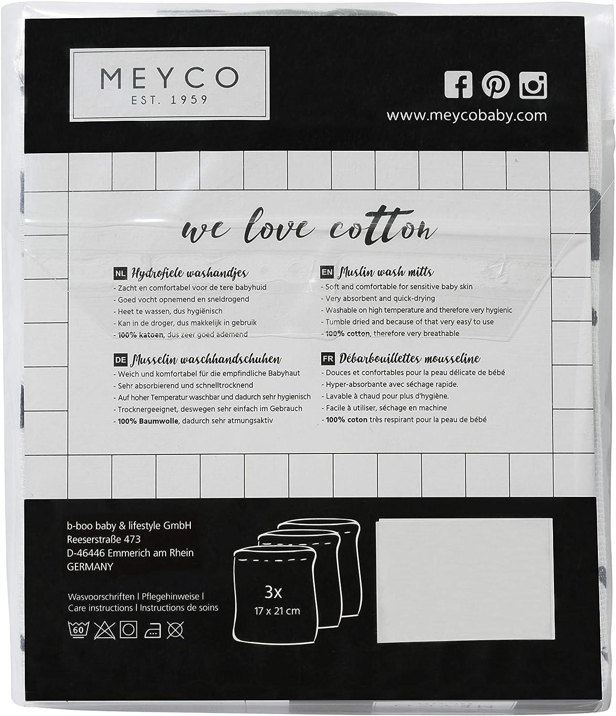 Meyco 458017 Lot de 3 gants de toilette en mousseline 21 x 17 cm