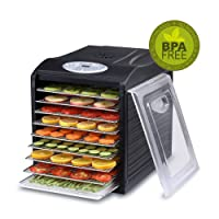 BioChef Arizona Sol Food Dehydrator 9 x BPA FREE Stainless Steel Drying Trays & Digital Timer - Includes: 3 x Non Stick & 3 x Fine Mesh Sheet & Drip Tray. Best Drier for Raw Food, Fruit, Jerky (Black)