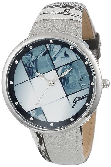 Gattinoni W0316GSWZPS Alpha - Reloj de pulsera con correa de piel con cristales de Swarovski y planetario de acero inoxidable: Amazon.es: Relojes