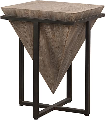 Reviewed: MY SWANKY HOME Modern Rustic Industrial Pyramid End Table | Geometric Iron Wood Block Accent