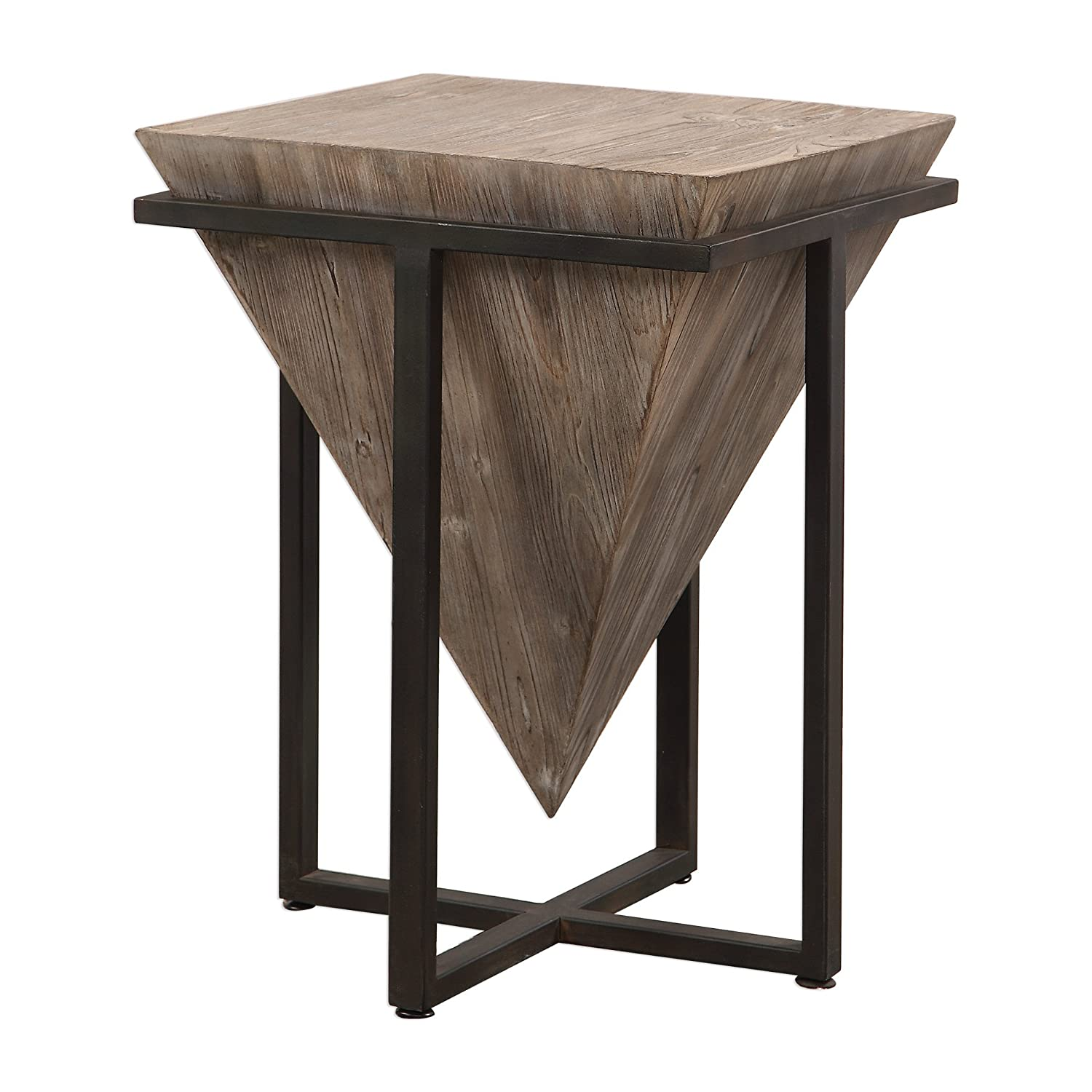 new product b39b4 5846e My Swanky Home Modern Rustic Industrial Pyramid End Table | Geometric Iron  Wood Block Accent