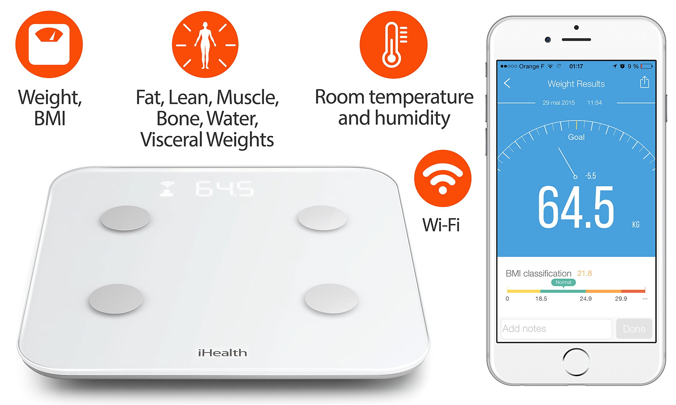 iHealth Core Wireless Body Composition Scale for Apple and Android - Measures Body Fat, BMI, Muscle Mass, and More for 10 Users by iHealth (Image #2)