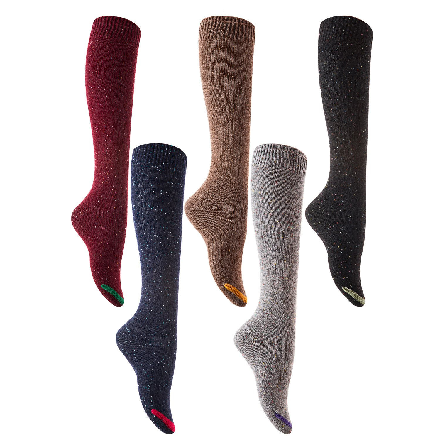 Random Color Lian LifeStyle Womens 5 Pairs Pack Knee High Cotton Boot Socks Size 6-9