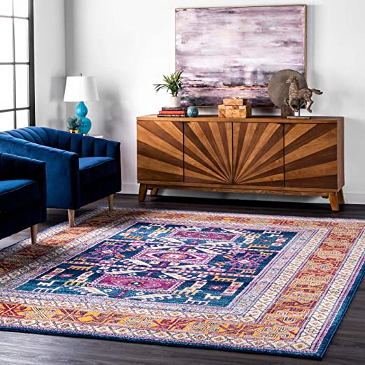Amazon Com Nuloom Marisela Tribal Area Rug 8 10 X 12 Navy Furniture Decor