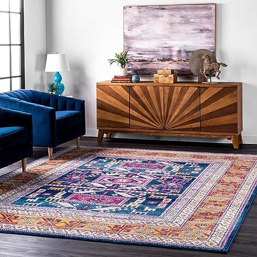 Amazon Com Nuloom Marisela Tribal Area Rug 8 10 X 12 Navy Furniture Decor