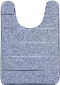 "BETUS U-Shaped Contour Memory Foam Toilet Mat - Non-Slip Backing, Water Absorbent, Machine Washable, Super Cozy - Luxurious Velvet Comfort Washroom Rug - 16""x24"" (Gray)"