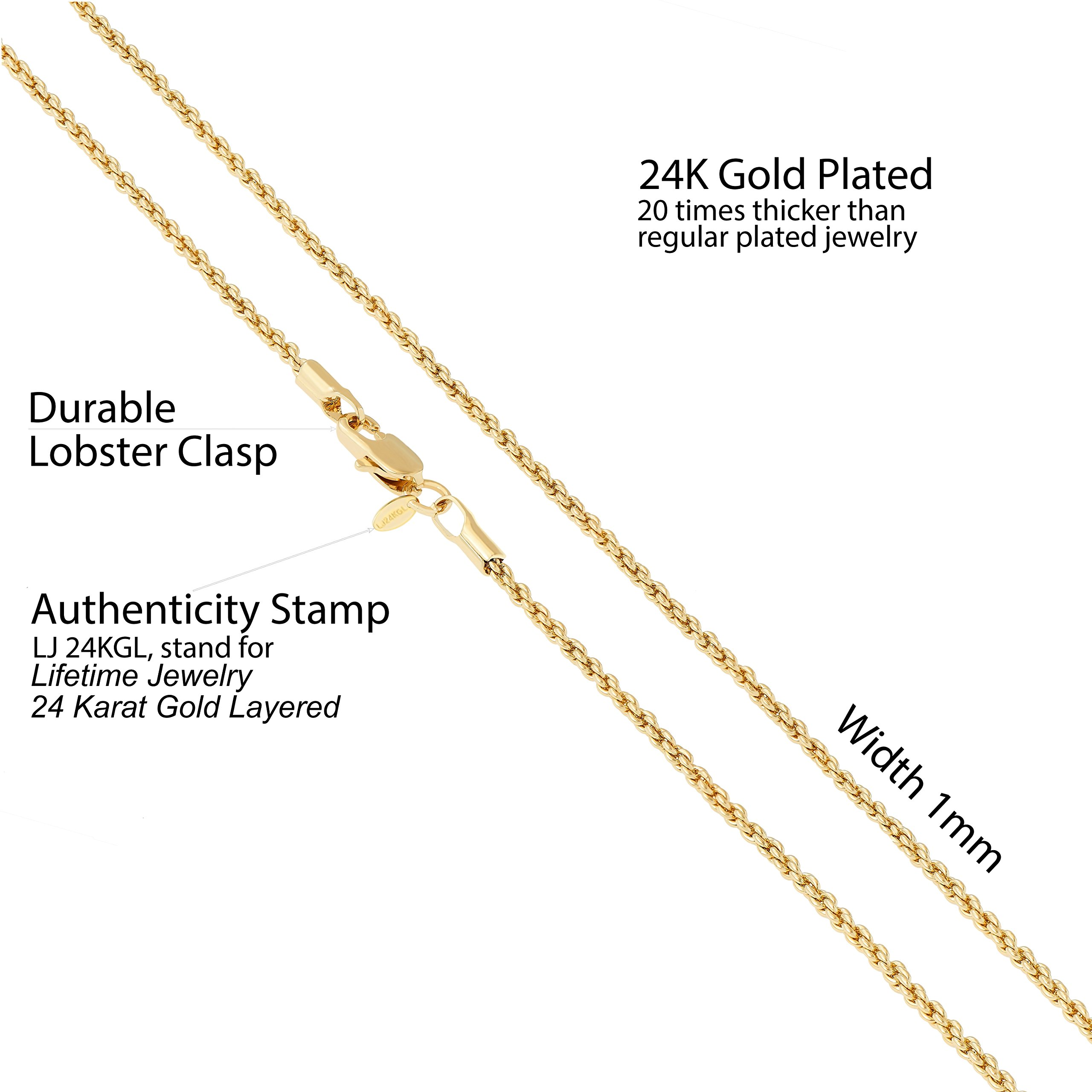 Lifetime Jewelry 1mm Rope Chain 24K White or Yellow Gold Plated Pendant Necklace for Men and Women Made Thin for Charms 16 to 30 Inches (22) by Lifetime Jewelry (Image #4)
