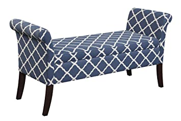 Peachy Convenience Concepts Designs4Comfort Garbo Storage Bench Moroccan Blue Fabric Andrewgaddart Wooden Chair Designs For Living Room Andrewgaddartcom