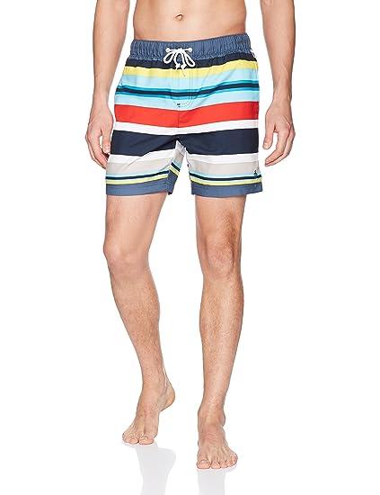 edaddb9ebb Original Penguin Men's Large Stripe Printed Elastic Volley Swim Trunks:  Amazon.co.uk: Clothing