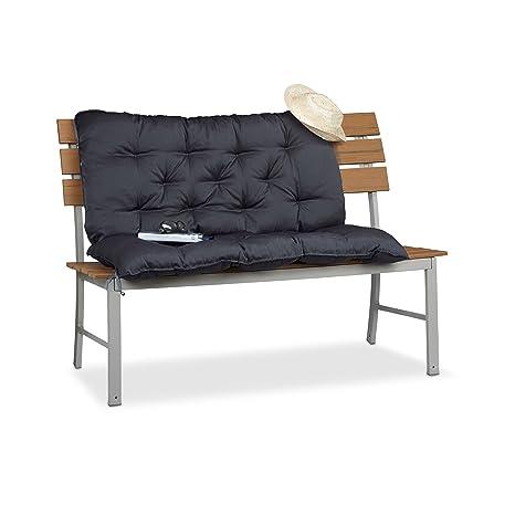 Relaxdays Cojín para Banco de Exterior con Respaldo, Algodón-Poliéster, Gris, 54.3x46x25.5 cm