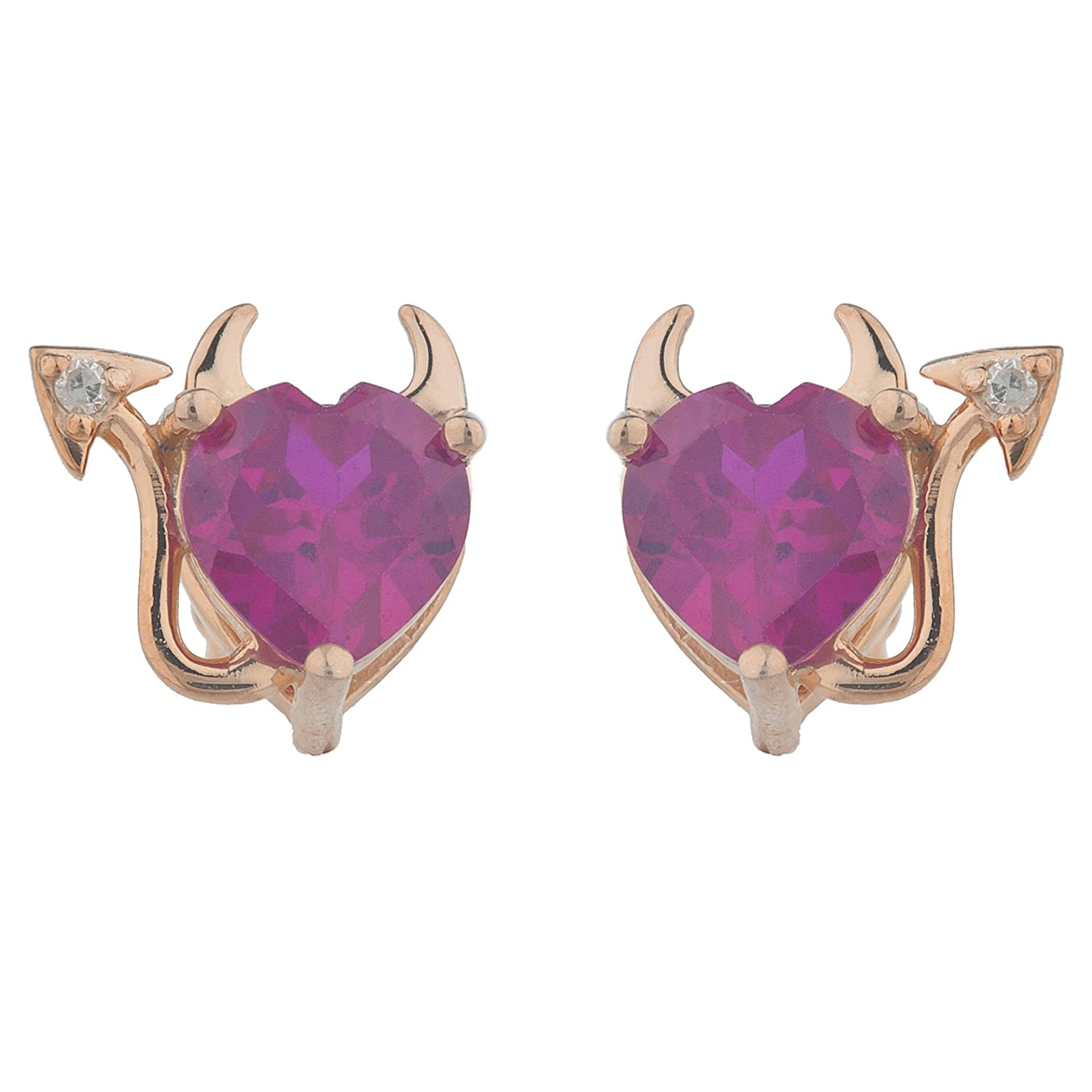 Created Ruby /& Diamond Devil Heart Stud Earrings 14Kt Rose Gold Plated Over .925 Sterling Silver