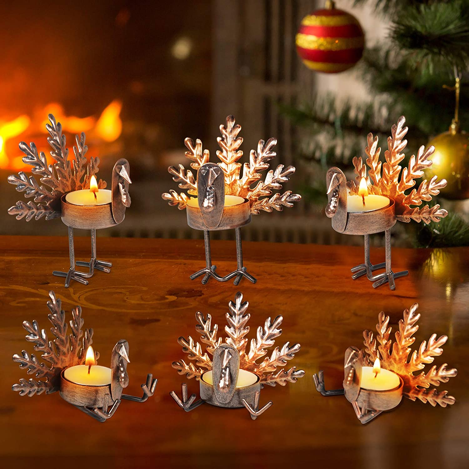 ALLADINBOX Set of 6 Turkey Tea Light Candle Holders Thanksgiving Centerpiece, Fall Decorations, Home Decor, Tea Light Decorations, Table Kitchen Thanksgiving Decorations