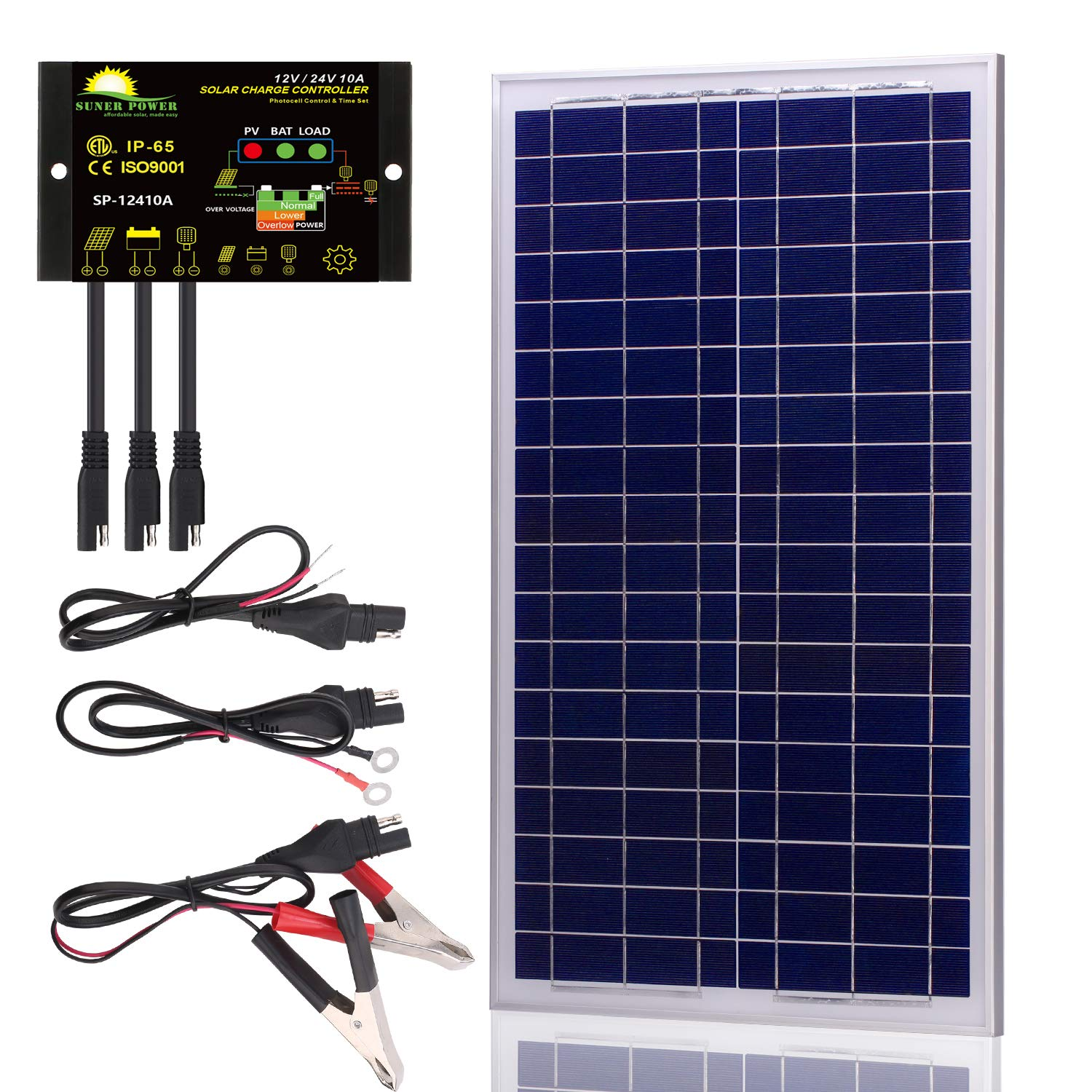 SUNER POWER 30 Watts 12V Off Grid Solar Panel Kit - Waterproof 30W Solar Panel + Photocell 10A Solar Charge Controller with Work Time Setting + SAE Connection Cable Kits by SUNER POWER