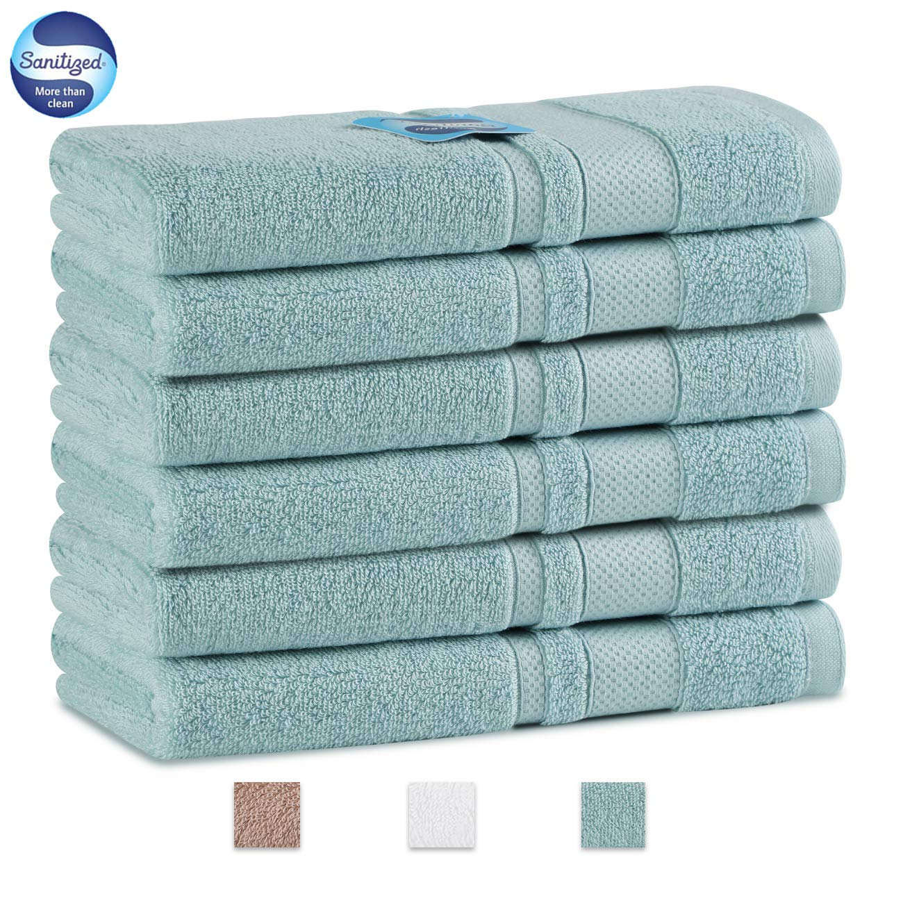 GRACE ORCHID Luxury 6 Piece Hand Towel Set 29 x 14 Inch -100% Long Staple Cotton Super Soft, Machine Washable,Ultra Absorbent Towels for Bathroom, Hotel and Spa (Light Blue)