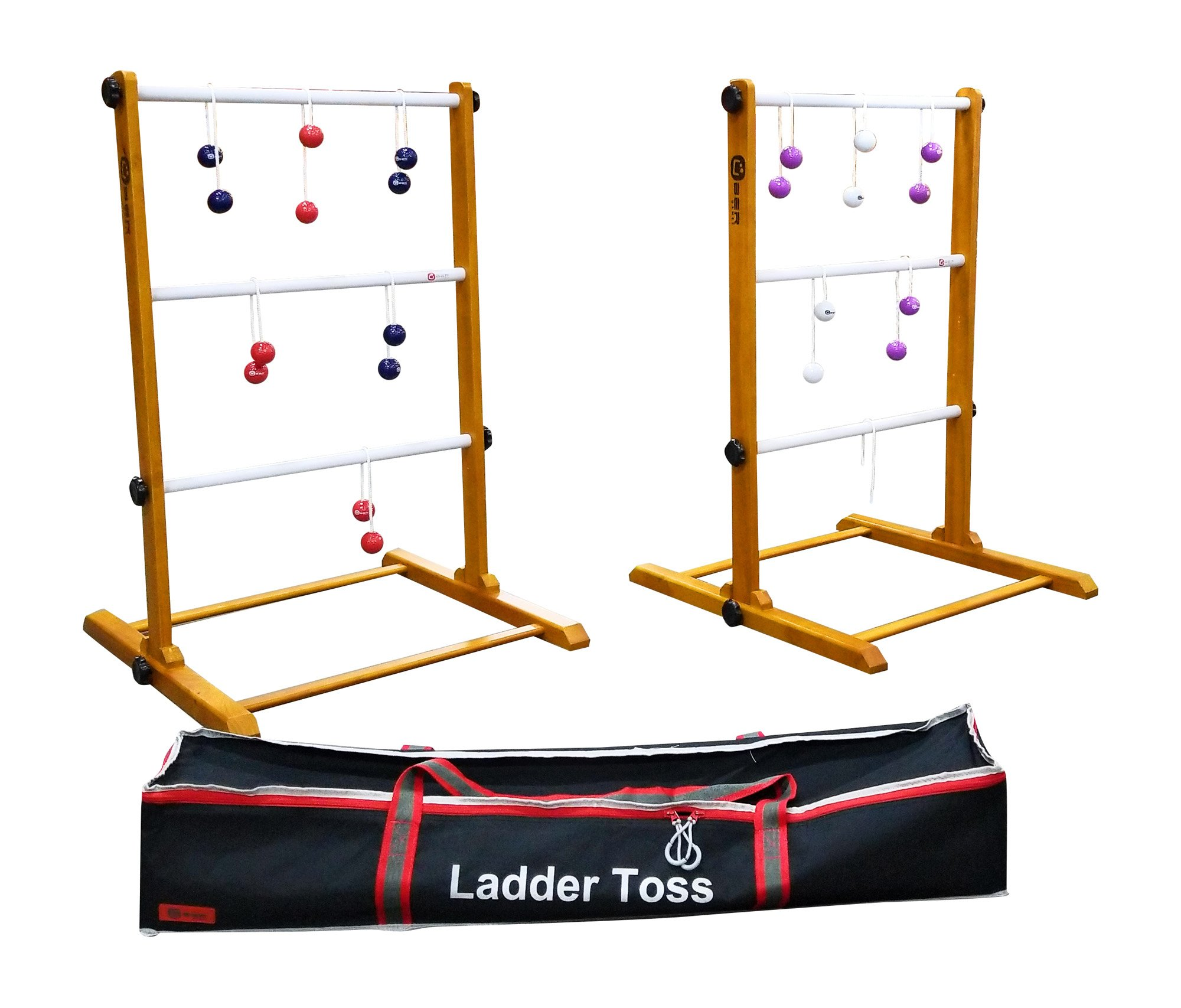 Uber Games Ladder Toss - Double Game - Red, Navy Blue, White, and Purple Bolas