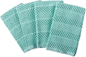 DII 100% Cotton, Ultra-Absorbent, Cleaning, Drying, Everyday Home Basic, Luxury Kitchen Chevron Dishtowel, 16 x 19 Set of 4-Aqua